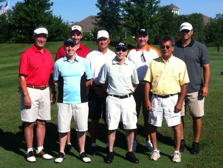From  left to right: Frank Mejia, (back row) Jeremy Moreland,  Al Solis, Chuck Petrilia, Roger Waters, front row) Jim Frenette, Mark Trushiem, Tom Nelson